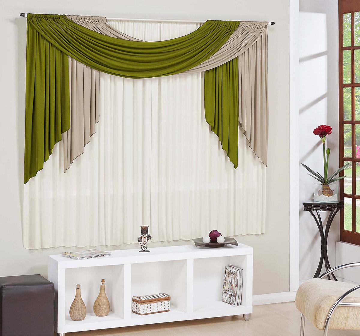 Cortina para sala e quarto verde e avel e palha 3 metros for Ganchos de plastico para cortinas