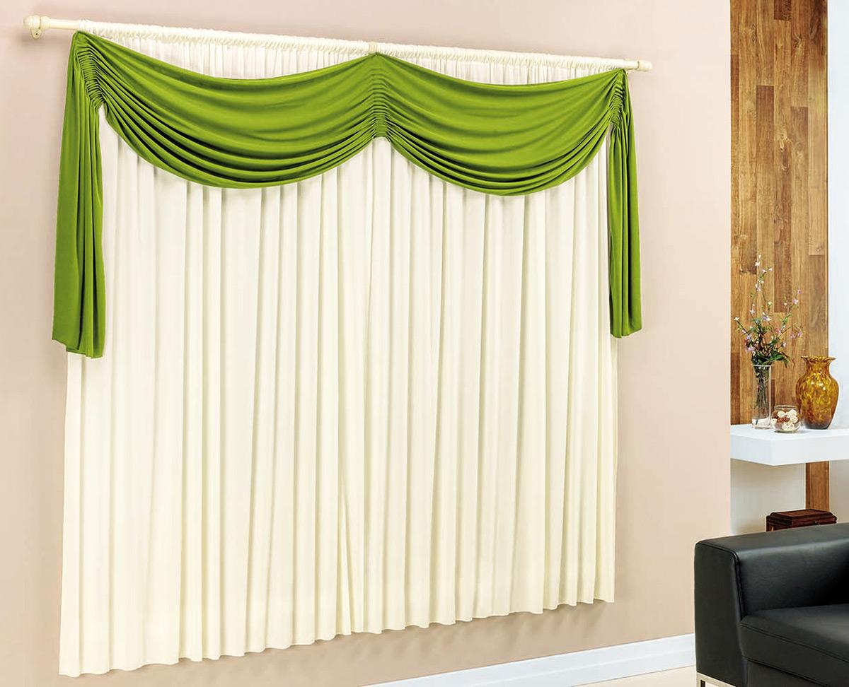 Cortina para sala e quarto verde e palha 3 metros em malha for Cortinas verdes para salon