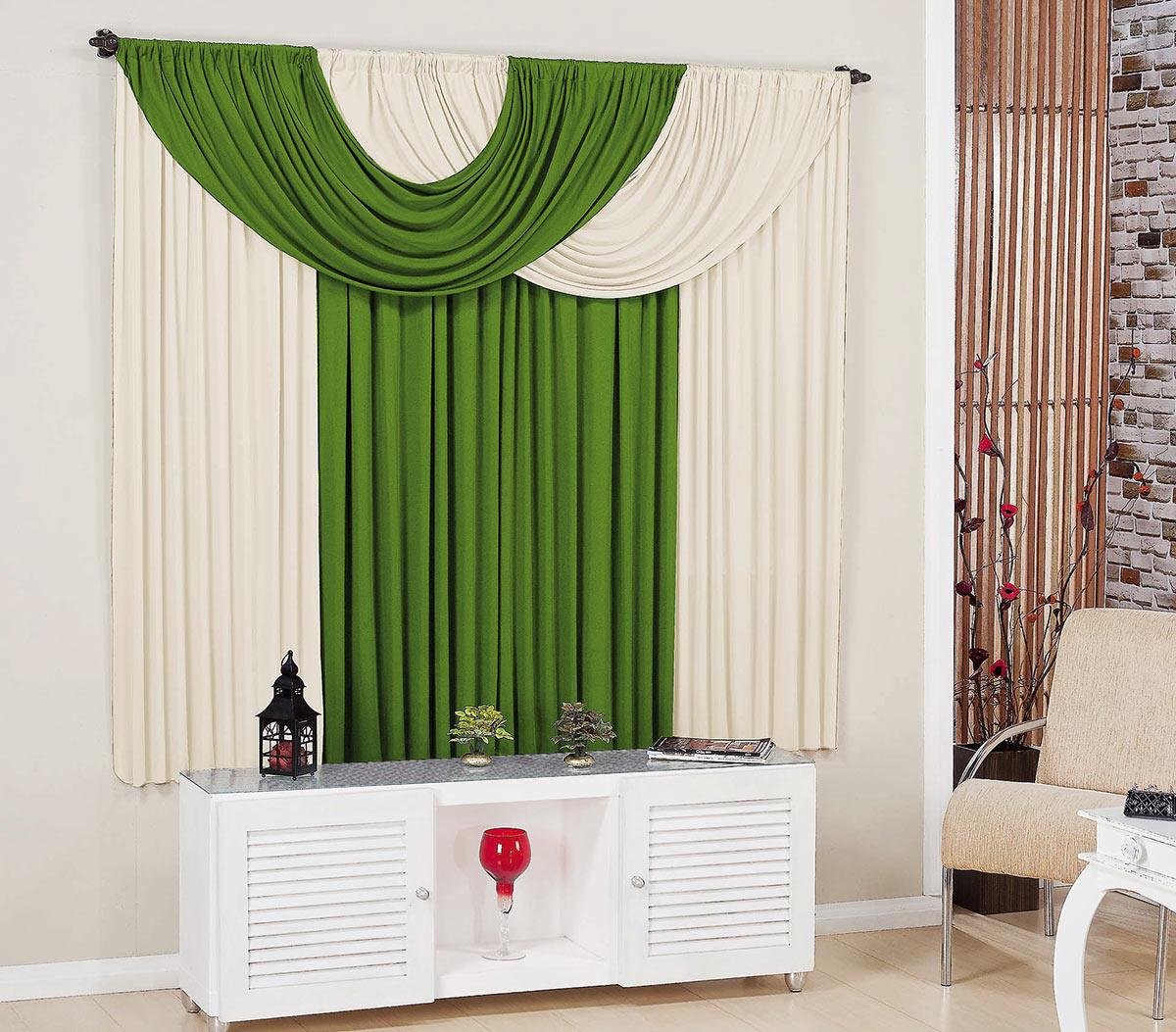 Cortina para sala e quarto verde e palha 3 metros em malha for Ganchos para cortinas de madera