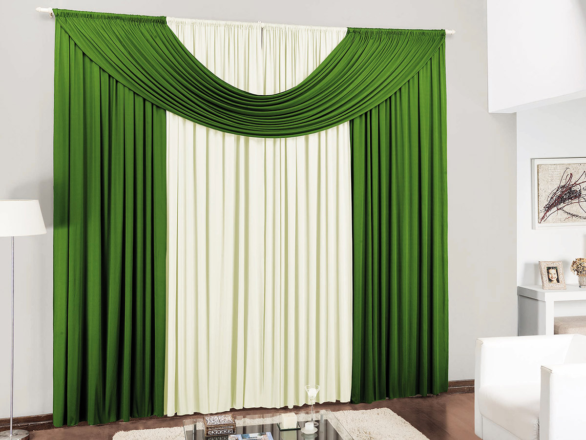 Cortina para sala e quarto verde e palha 4 metros em malha for Cortinas de visillo para salon