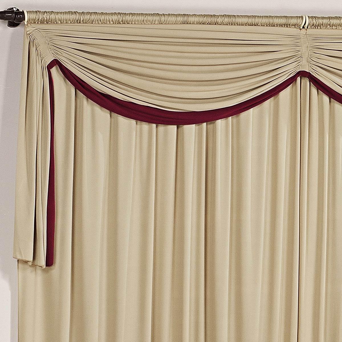 Cortina para sala e quarto vermelho e avel 3 metros em for Ganchos para cortinas de madera
