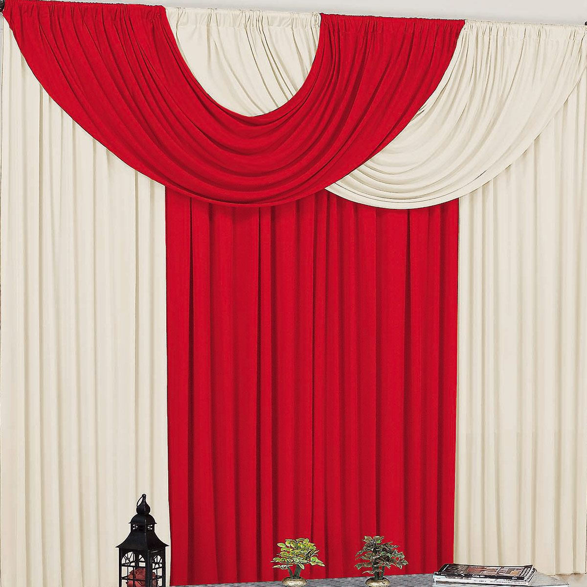 Cortina para Sala e Quarto Vermelho e Palha 2 metros em Malha varão Simples - Cortina Suellen