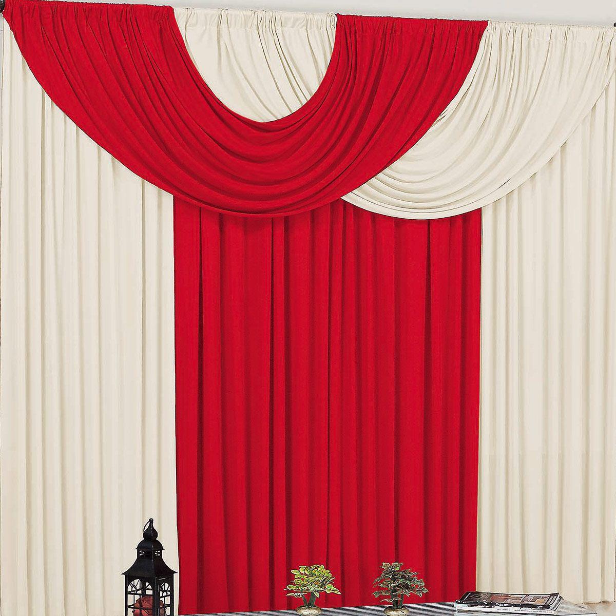 Cortina para Sala e Quarto Vermelho e Palha 3 metros em Malha varão Simples - Cortina Suellen