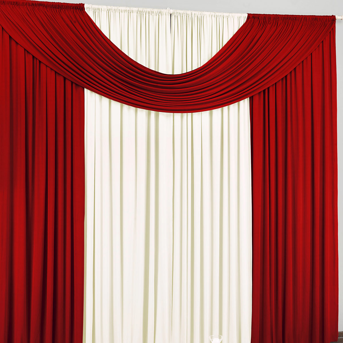 Cortina para Sala e Quarto Vermelho e Palha 4 metros em Malha varão Simples - Cortina Cristal