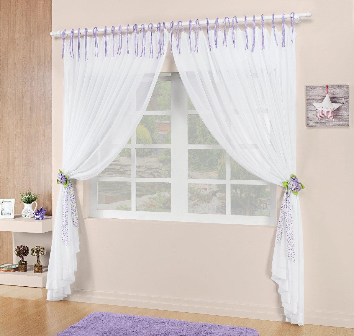 Cortina Sala e Quarto 2 metros Branco com detalhe lilás Percal 200 fios - Cortina Bianca