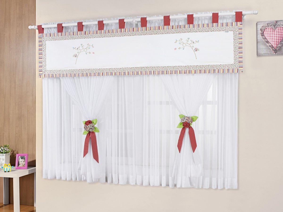 Cortina Sala e Quarto 3 metros Branco com detalhes vermelhos Percal 200 fios - Cortina Agatha