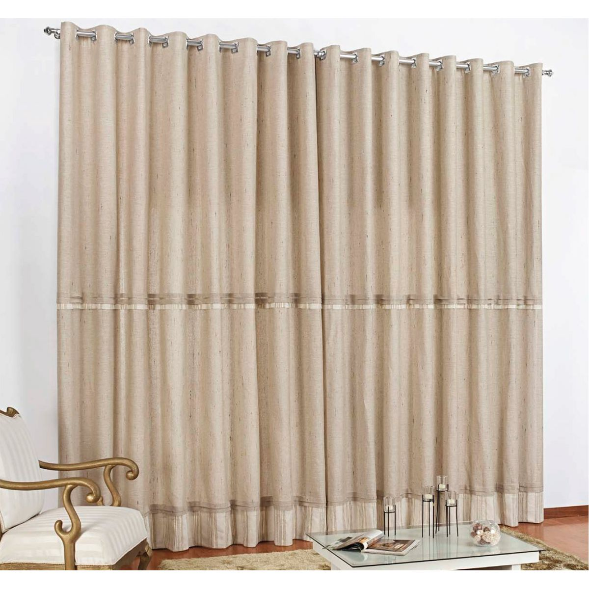 Cortina sala e quarto 3 metros palha linho cortina cromo for Cortinas bonitas para sala
