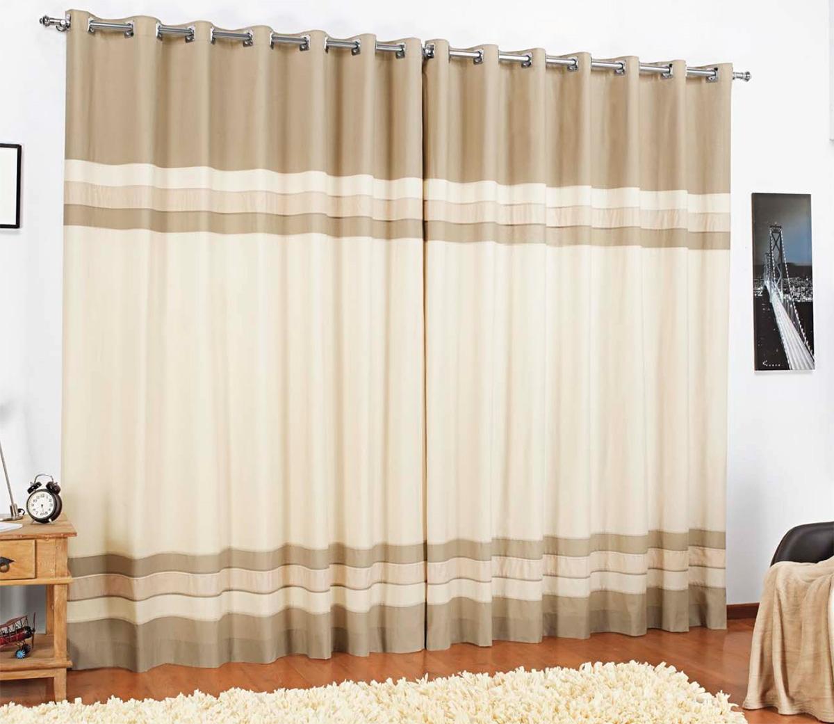 Cortina sala e quarto 3 metros palha percal 200 fios for Ganchos de plastico para cortinas