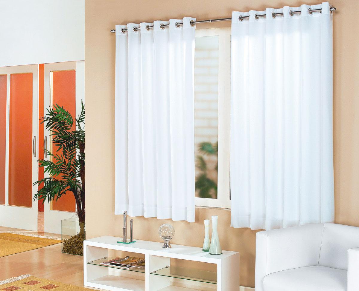 Cortina sala e quarto branco tecido cortelano algodao e for Cortinas para sala