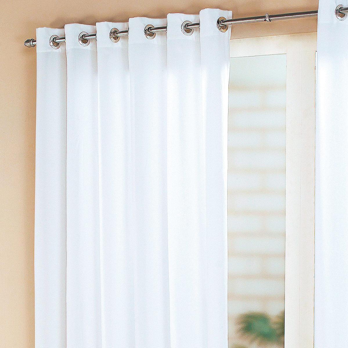 Cortina sala e quarto branco tecido cortelano algodao e for Ganchos de plastico para cortinas