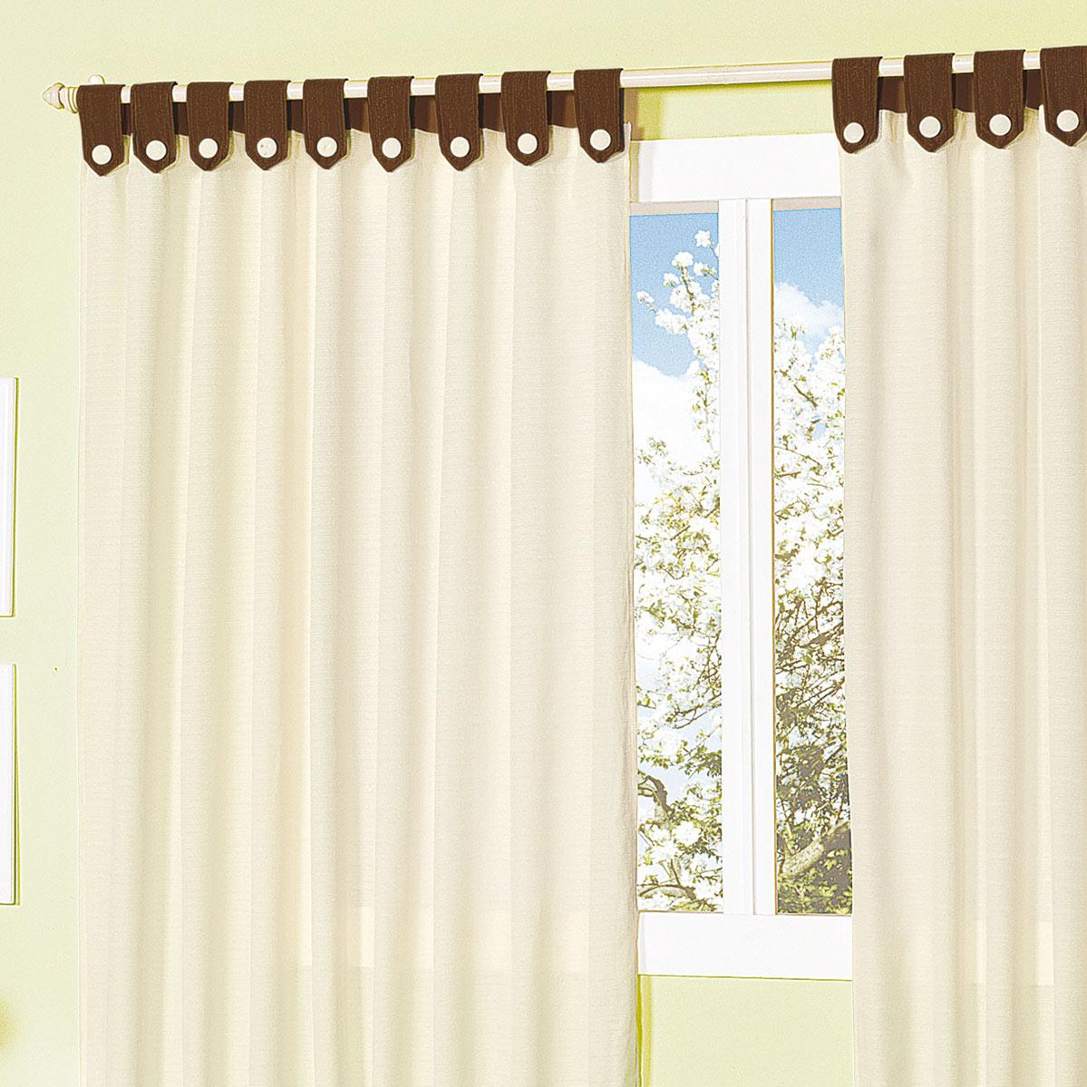Cortina tecido misto rustico holanda com 2 metros cor for Ganchos para cortinas de madera