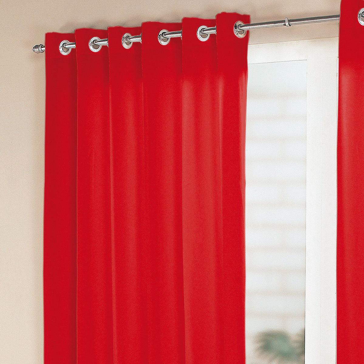 Cortina sala e quarto vermelho tecido cortelano algodao e for Aros de plastico para cortinas