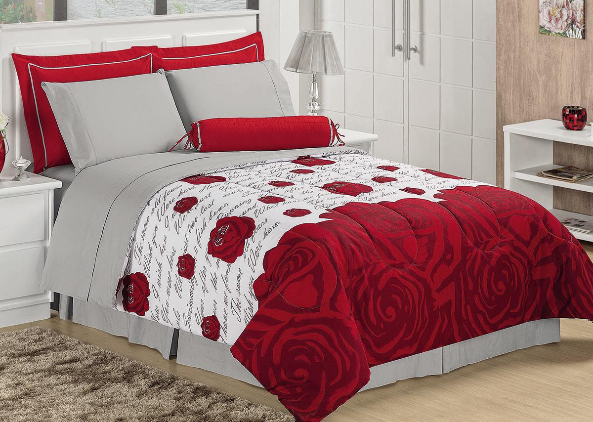 Edredom Casal Floral Vermelho em Algodão com 5 peça - Roseto