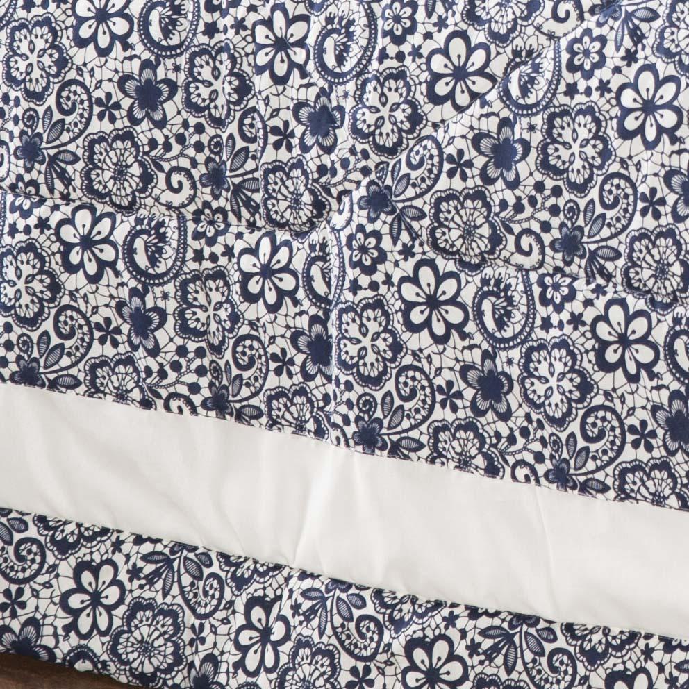 Edredom Esmeralda Queen Floral Azul Lindo com 5 peças - Com Almofada