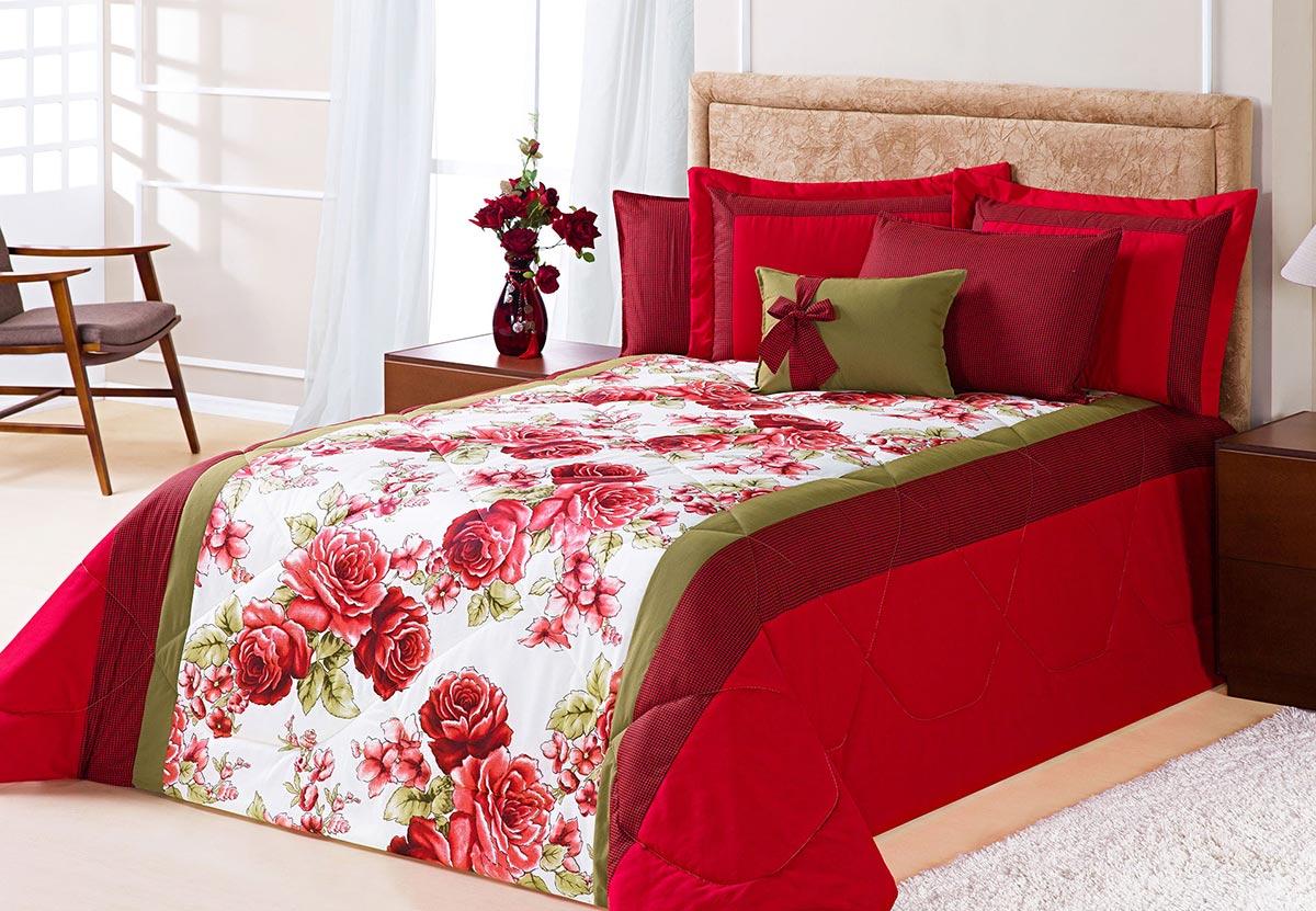 Edredom King Savana Vermelho Rosas Vermelhas com 7 peças