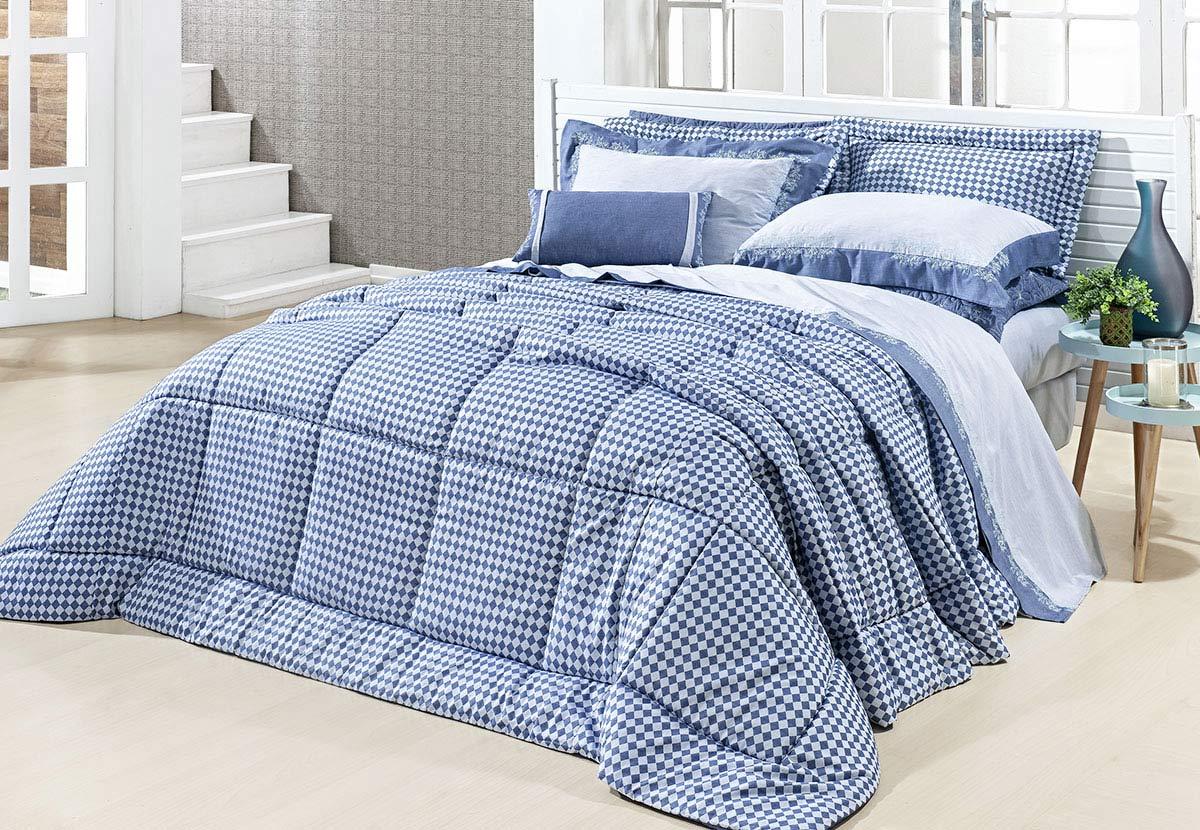 Edredom Ornatto King Azul com 3 peças