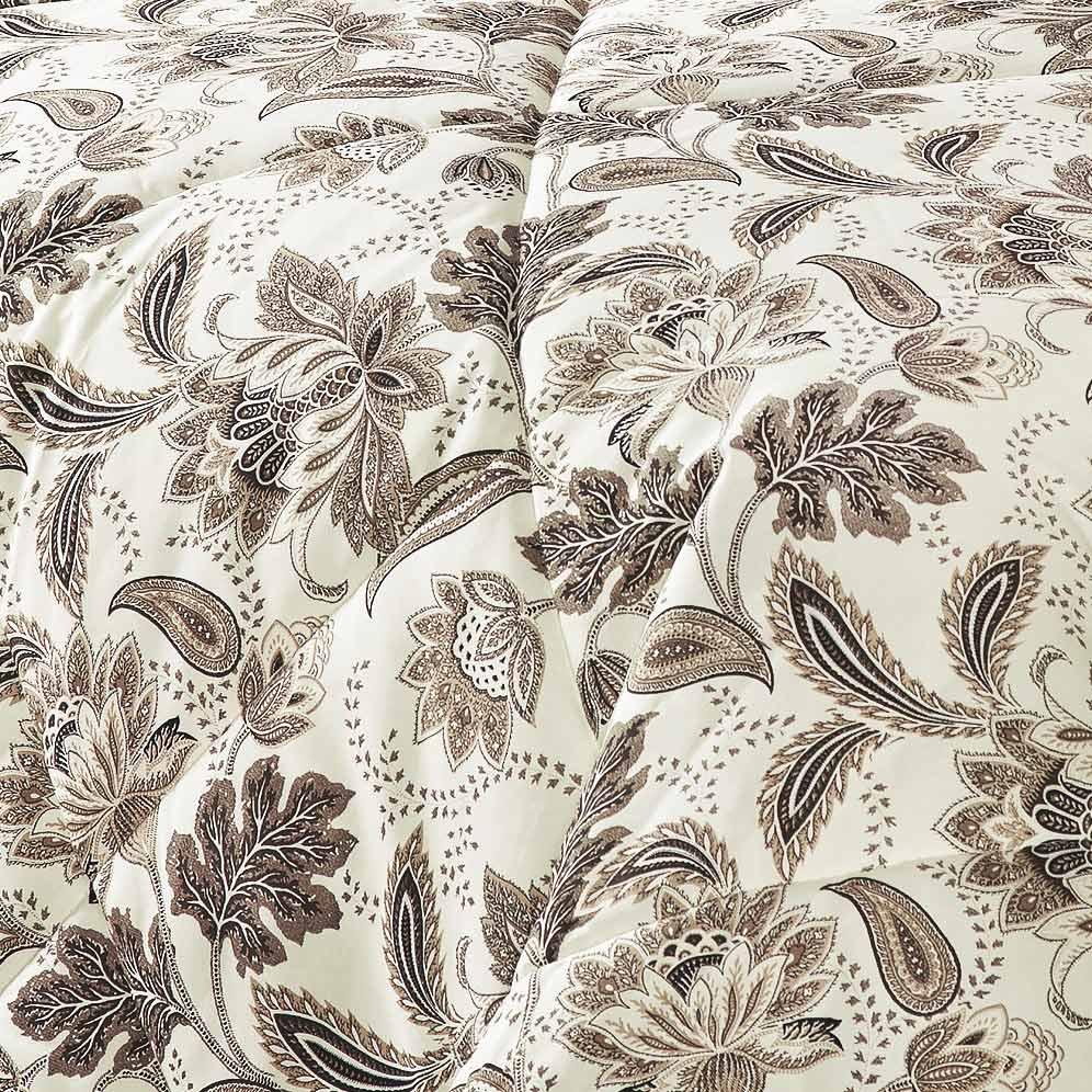 Edredom Queen Cashmere Palha com estampa Flores em 3 peças - Edredom + Porta Travesseiro