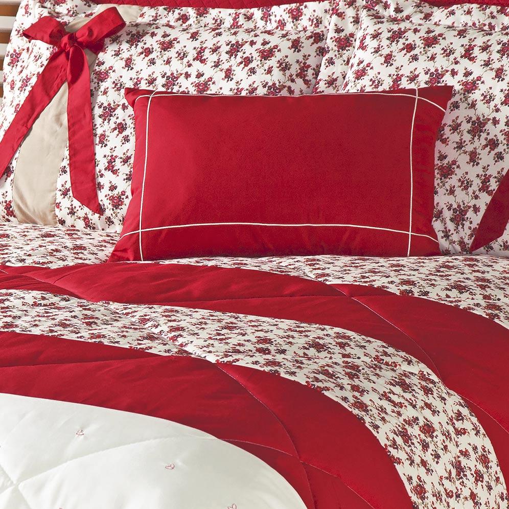 Edredom Queen Jasmin Floral Vermelho com Bordado e estampa Flores com 5 peças - Com Almofada