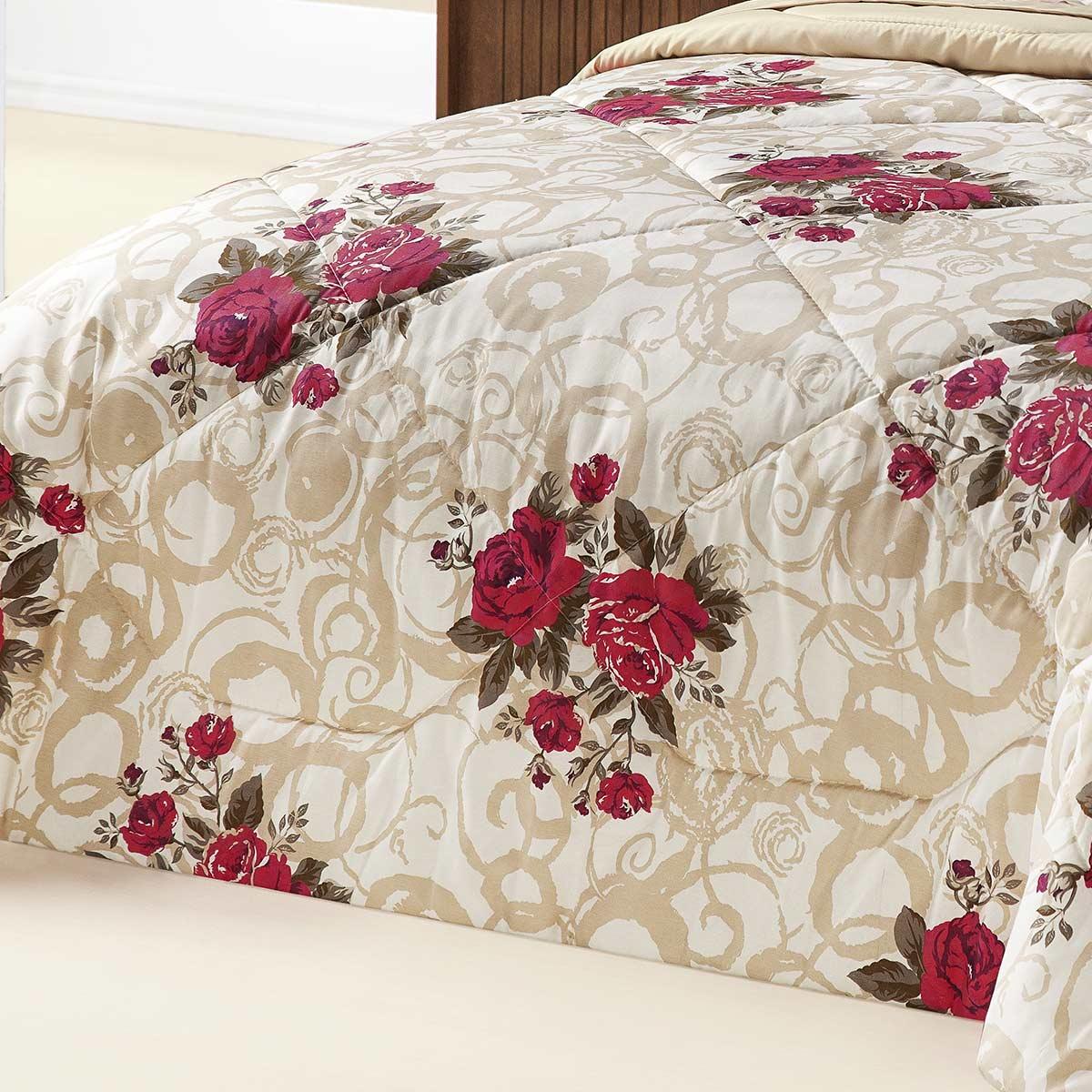 Edredom Queen Murano Bouquet Vermelho Flores Vermelhas com 3 peças