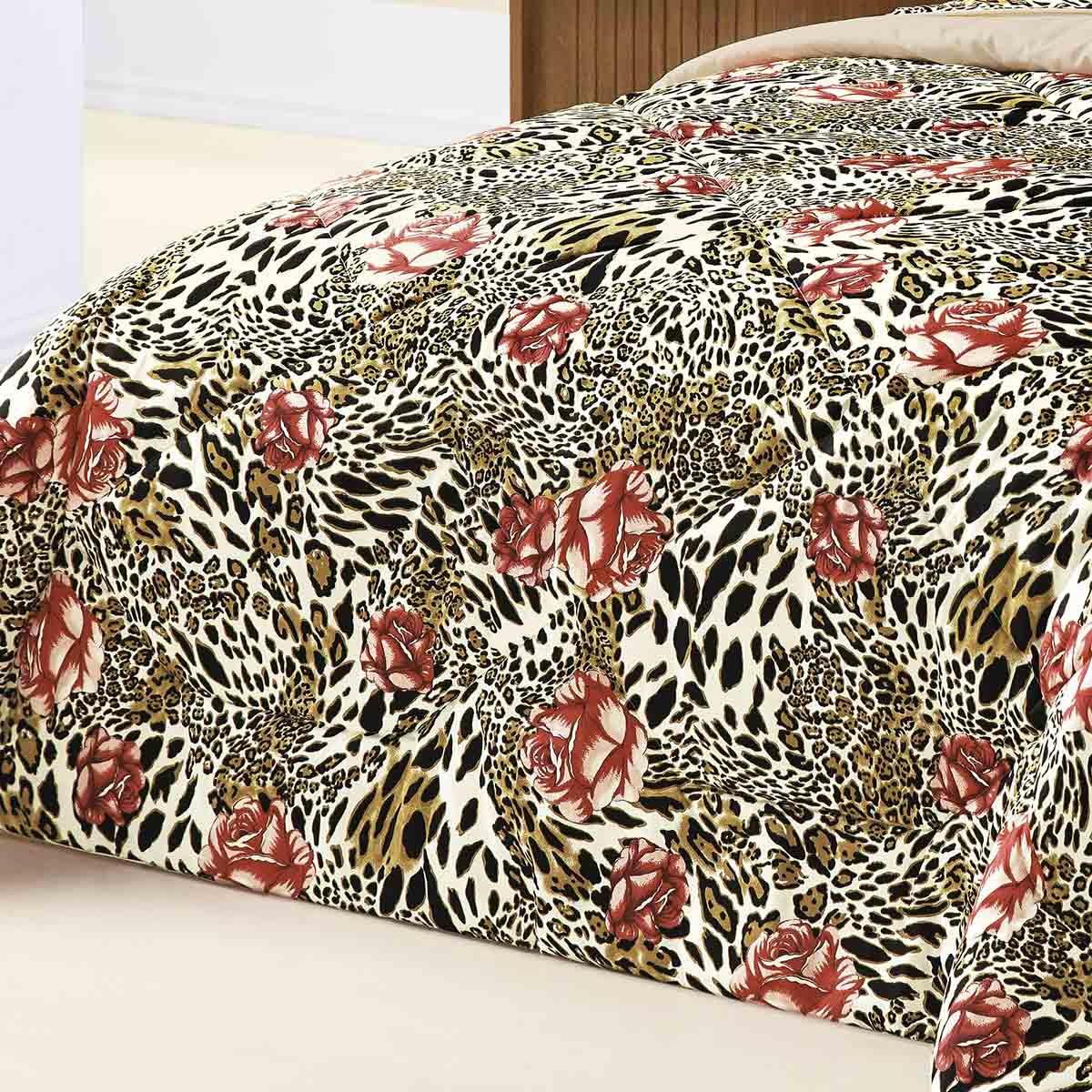 Edredom Queen Murano Onça Floral Onça Floral com 3 peças