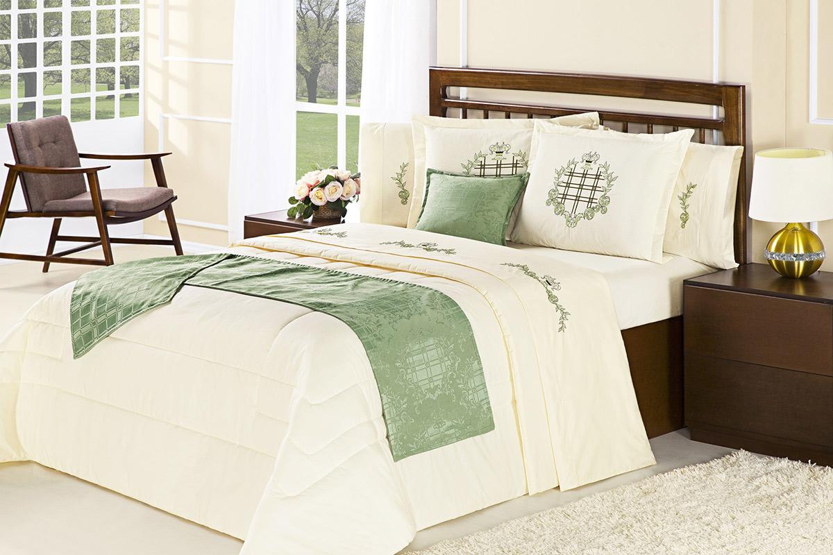 Edredom Cama Queen Palha / Verde com 6 peças tecido Algodão - Edredom Inovare