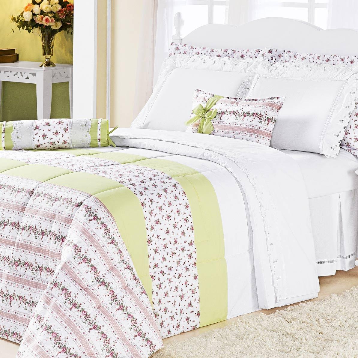 Edredom Cama Queen Verde com 5 peças tecido Algodão - Edredom Romantic