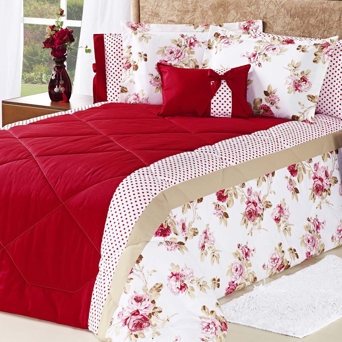 Edredom Cama Queen Vermelho com 7 peças tecido Algodão e Poliester e Microfibra - Edredom Florata