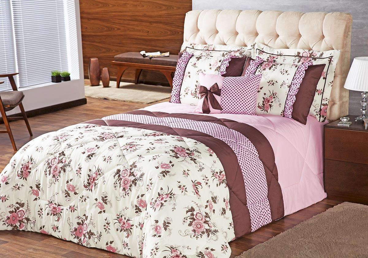 Edredom Queen Vitória Floral Rosa com 7 peças - Almofada + Porta Travesseiro