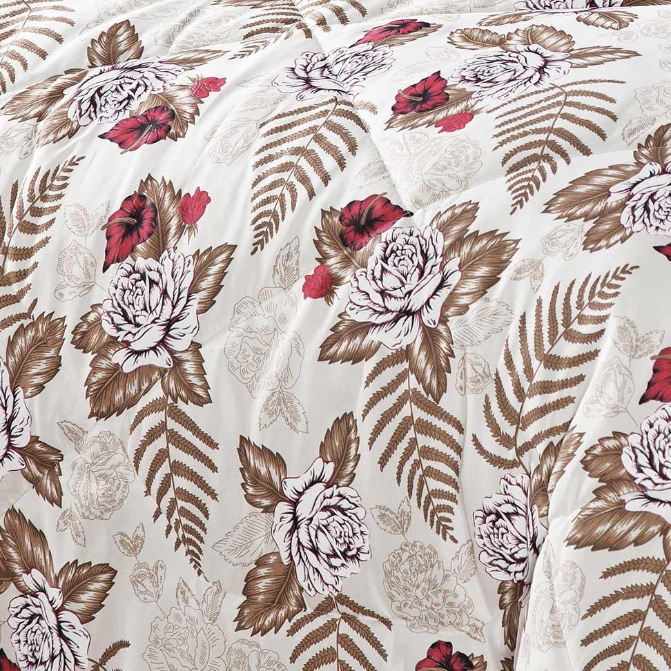 Edredom Queen Vitória Vermelho Lindo estampa Flores com 7 peças - Com Almofada