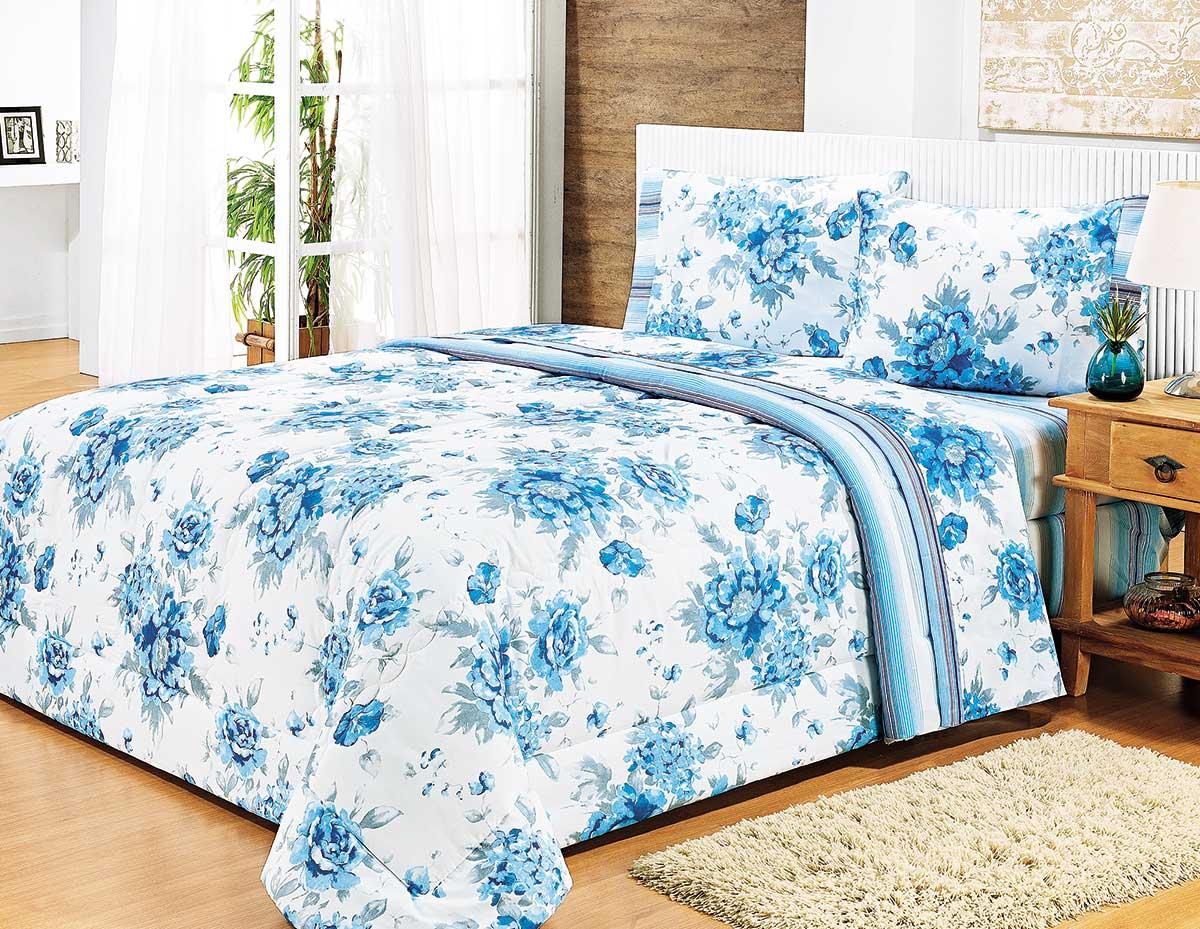 Edredon Queen Combinatto Azul Patwork com 1 peças