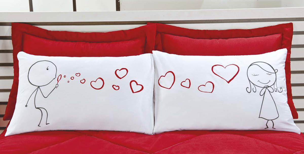 Fronhas Divertidas Amor Padrão Emoções Bolinhas de Coração Estampado com 2 peças