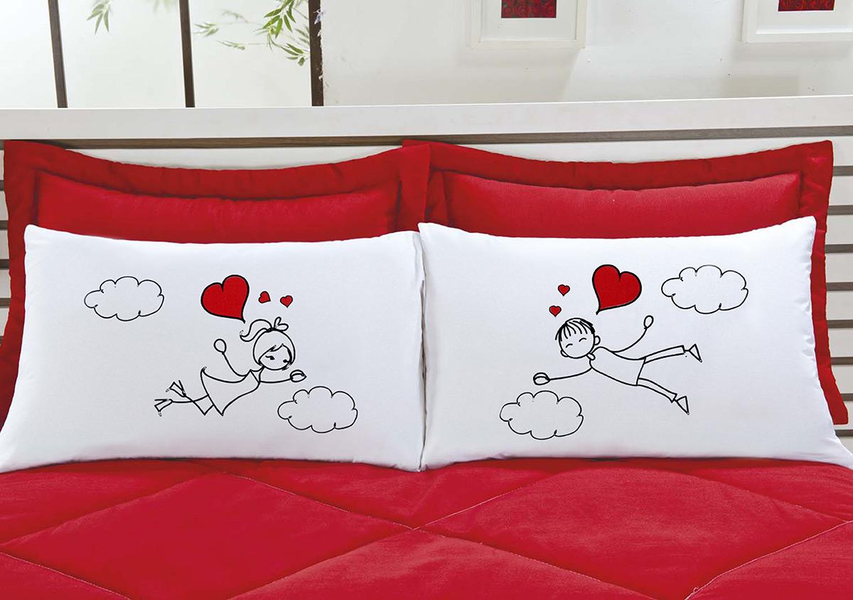 Fronhas Divertidas Amor Padrão Emoções Na Nuvem de Coração Estampado com 2 peças