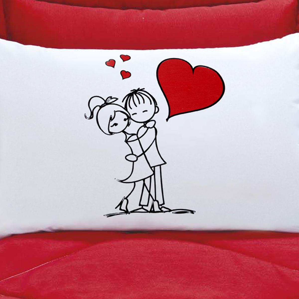 Fronhas Divertidas Amor Padrão Emoções Namorados Eternos Estampado com 2 peças