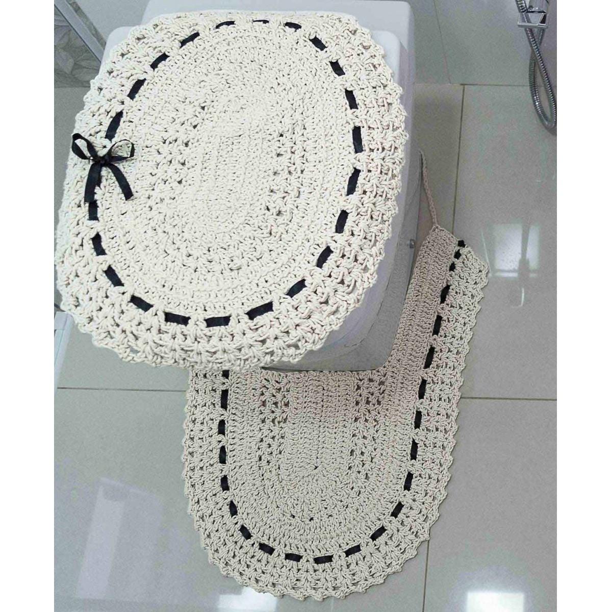Jogo de Banheiro  Crochê Fitado Preto com 3 peças