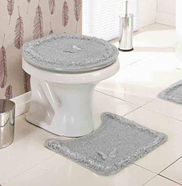 Jogo de Banheiro  Delicato Cinza com 3 peças