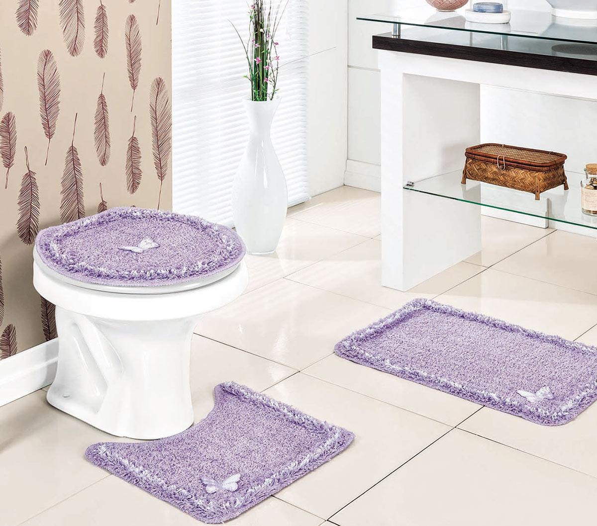Jogo de Banheiro Lilás em Algodão e Polipropileno com 3 peça - Canelli