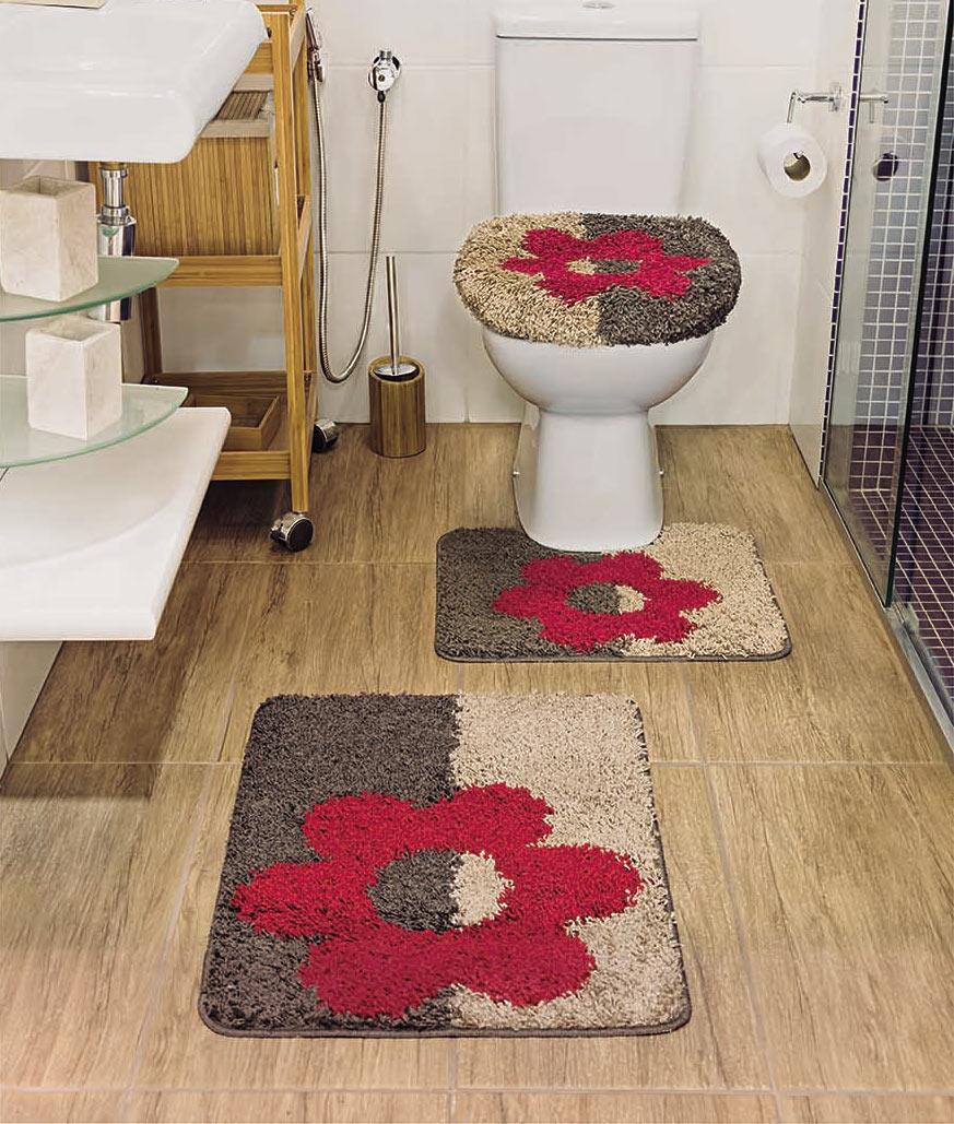 Jogo de Banheiro Padrão Jogo de Banheiro Plaza Amor Perfeito com 3 peças em Polipropileno