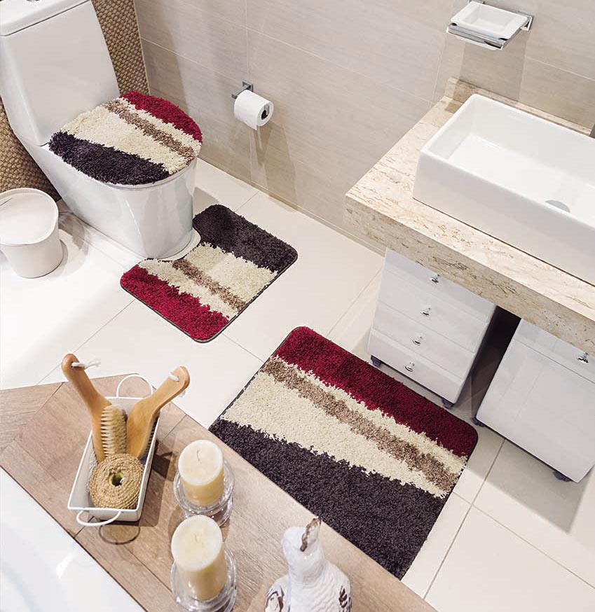 Jogo de Banheiro Padrão Jogo de Banheiro Plaza Diagonal com 3 peças em Polipropileno