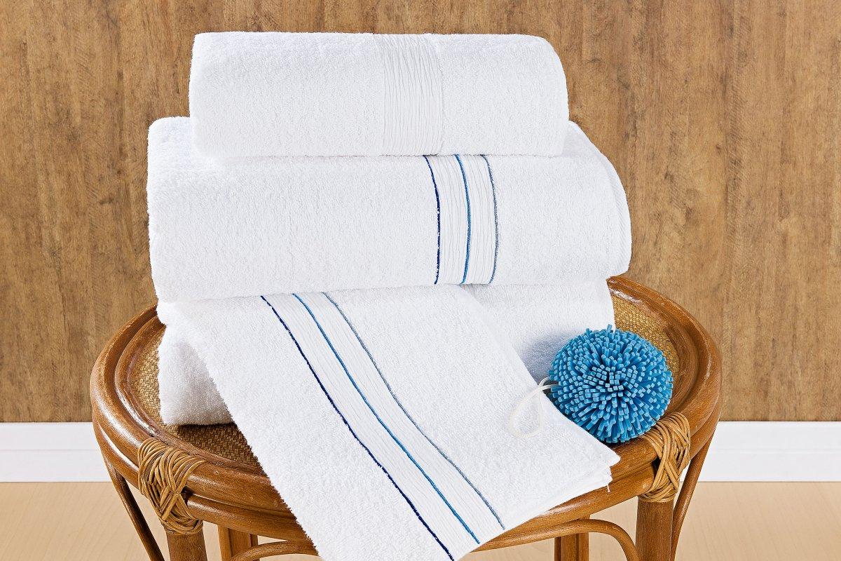 Jogo de Banho único Azul e Branco Algodão com 5 peças - Toalha Maiorca