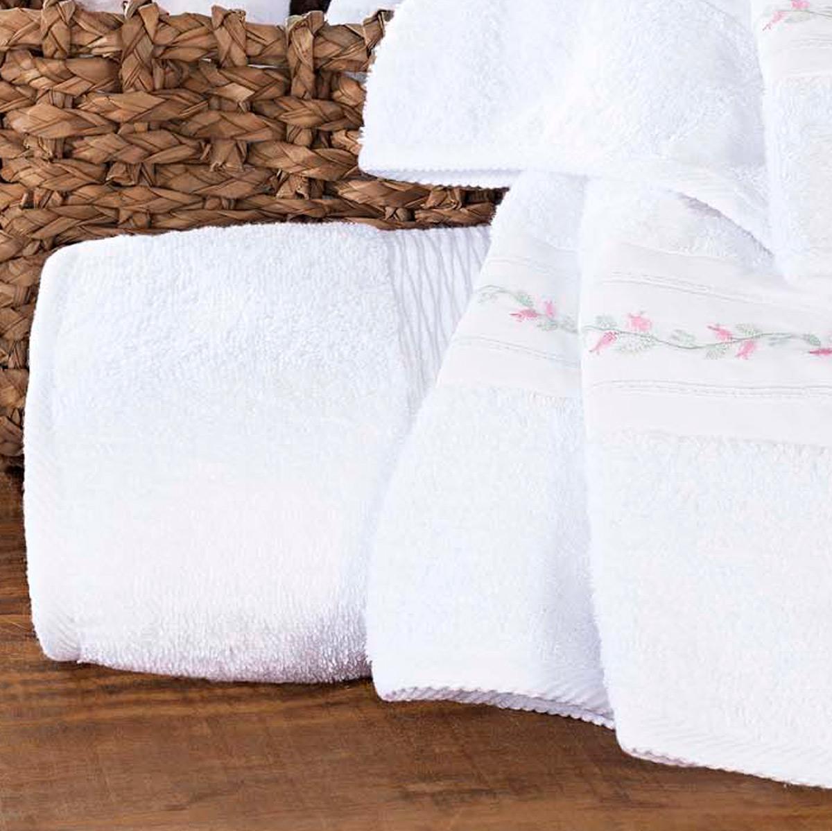 Jogo de Banho único Branco Algodão com 5 peças - Toalha Serenita