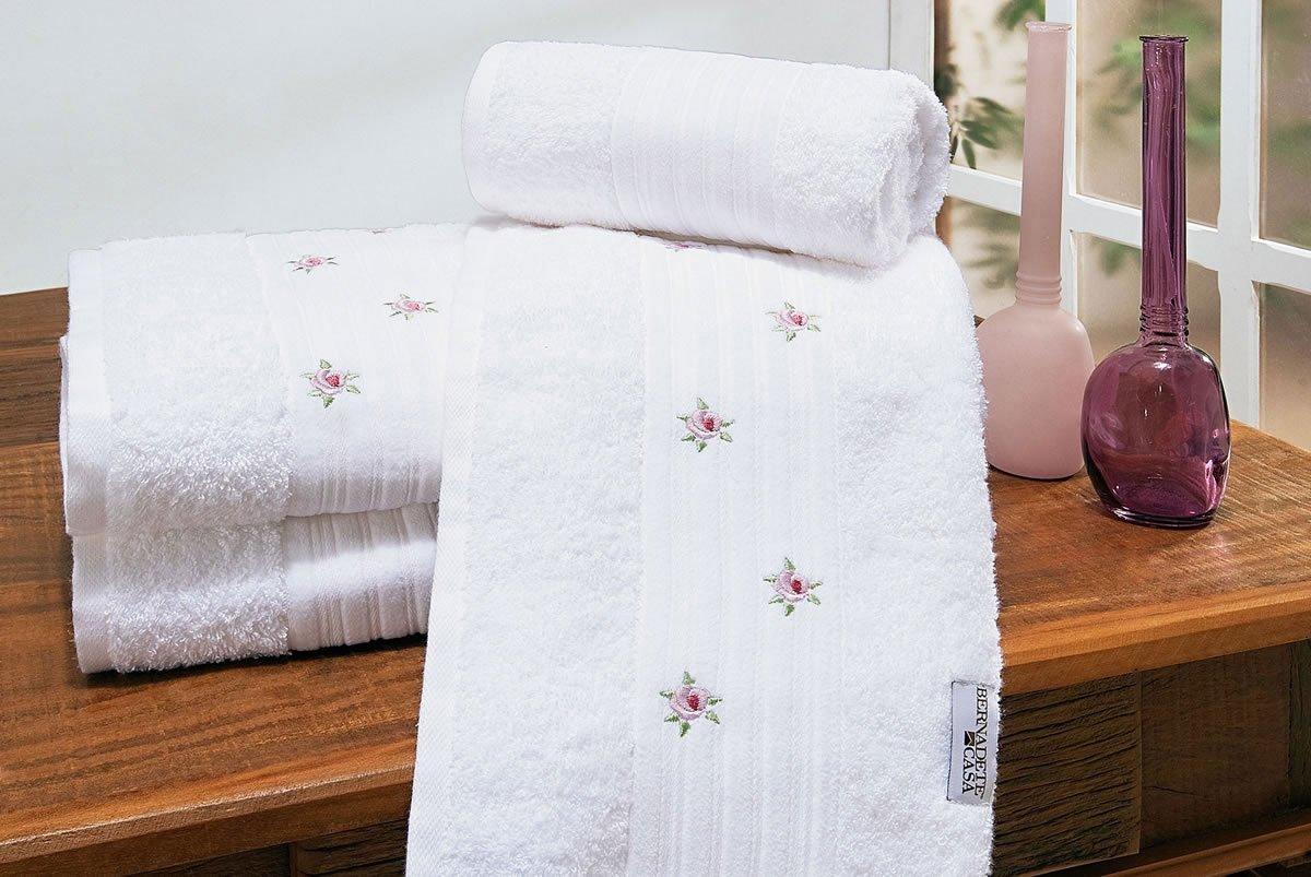 Jogo de Banho Único Branco com flores Algodão com 5 peças - Toalha Esplendore