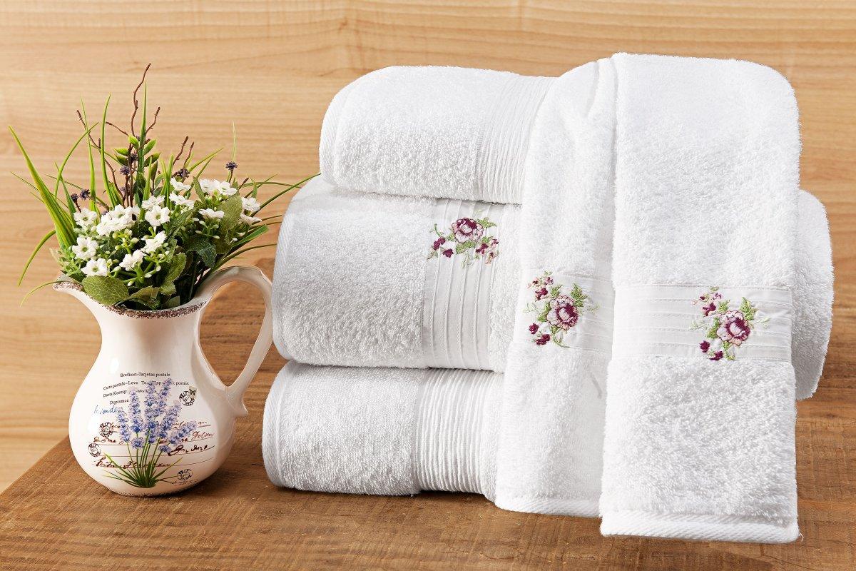 Jogo de Banho Único Branco com Florido Lilás Algodão com 5 peças - Toalha Abelle