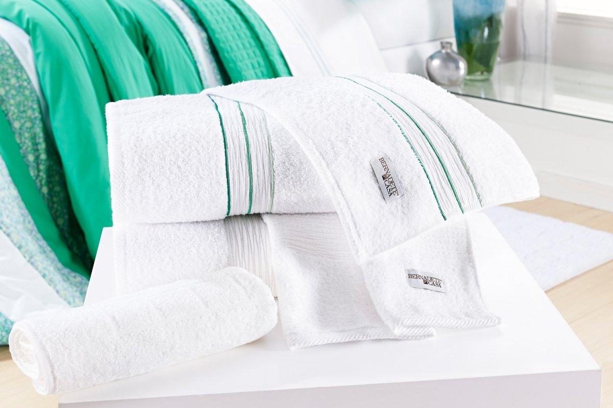 Jogo de Banho único Branco e Verde Algodão com 5 peças - Toalha Bloom