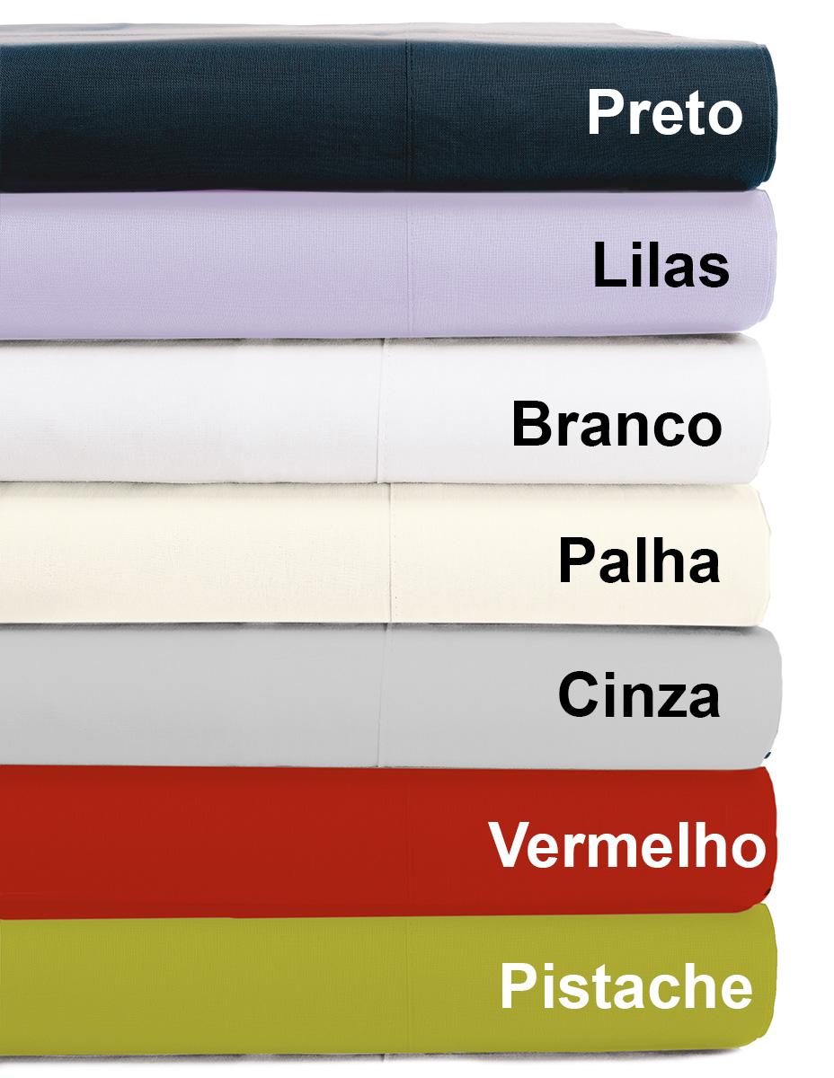Jogo de Cama Lencol Casal em 150 fios 100% Algodão com 04 peças nas cores: Preto, Lilas, Branco, Palha e Azul - Jogo de Cama Trajanus