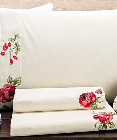 Jogo de Cama Lençol Marebre Queen Floral Vermelho com 4 peças