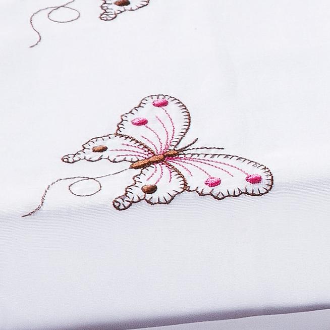 Jogo de Cama Lençol Queen Naturelle Branco Bordado Borboleta com 4 peças