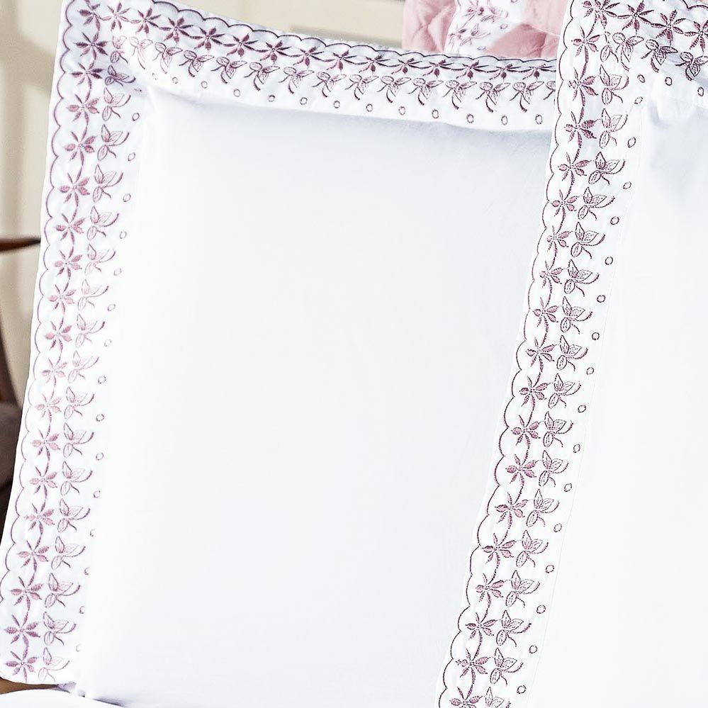 Jogo de Cama Versalhes Queen Branco e Rose Bordado Especial com 4 peças