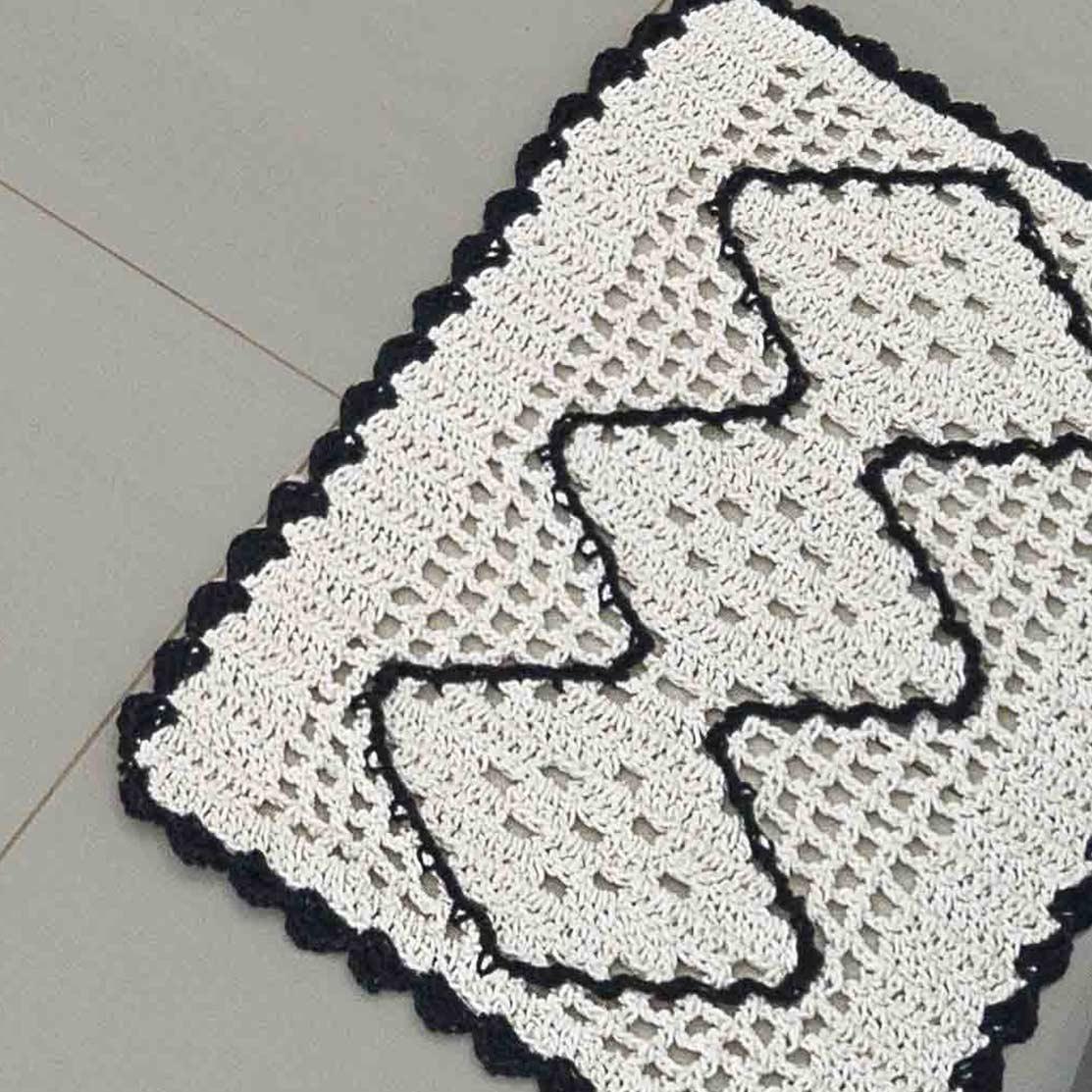 Jogo de Cozinha  Crochê Preto com 3 peças