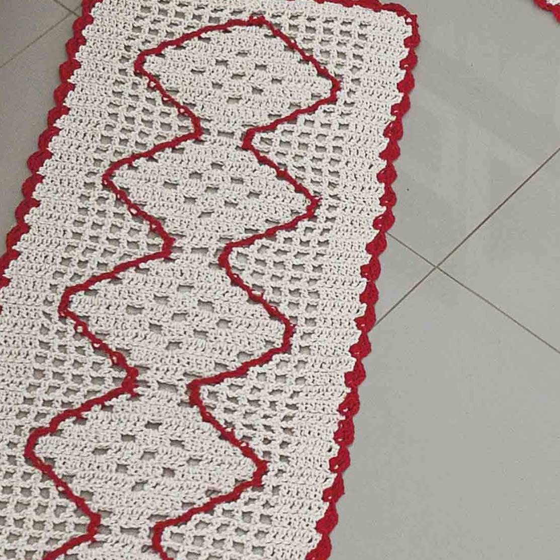 Jogo de Cozinha  Crochê Vermelho com 3 peças