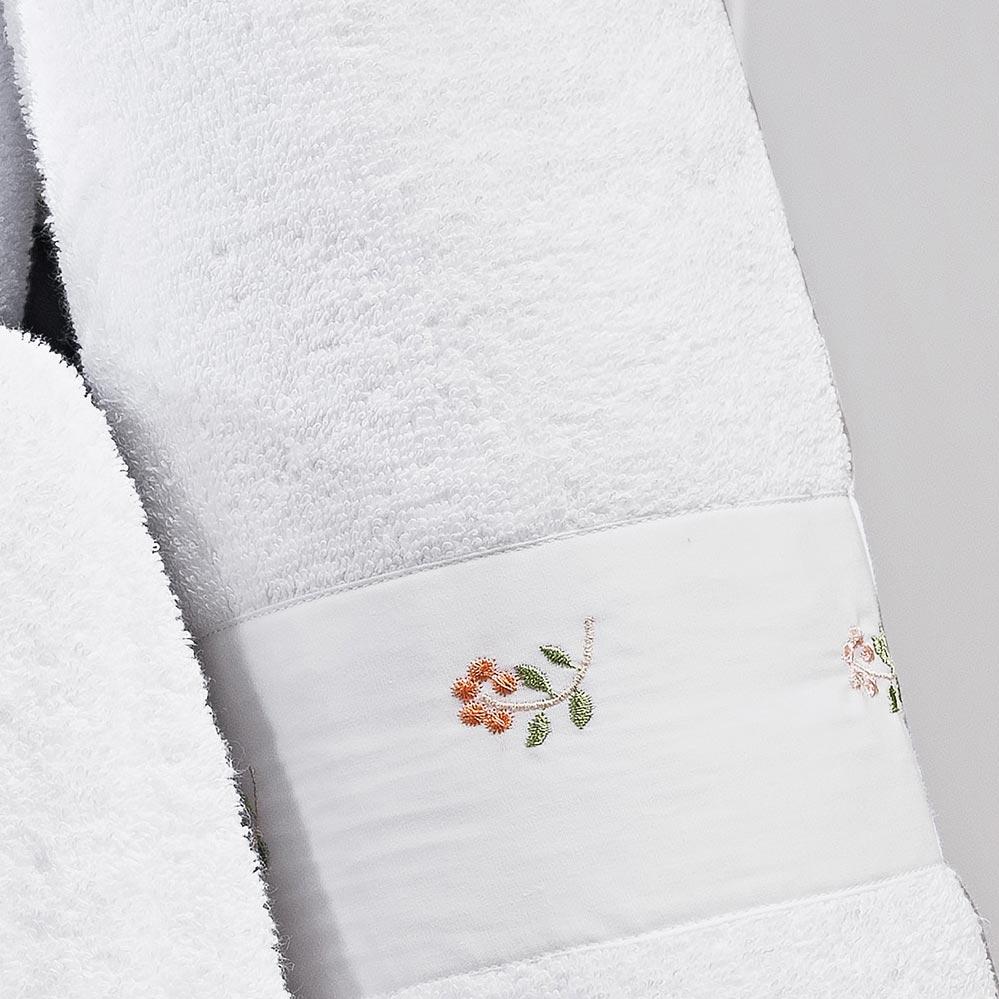 Jogo de Toalhas (Banho e Rosto) Super Grande Coleção Coral Branco bordado rosas Algodão 200 Fios com 5 peças